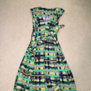 multi color v neck dress